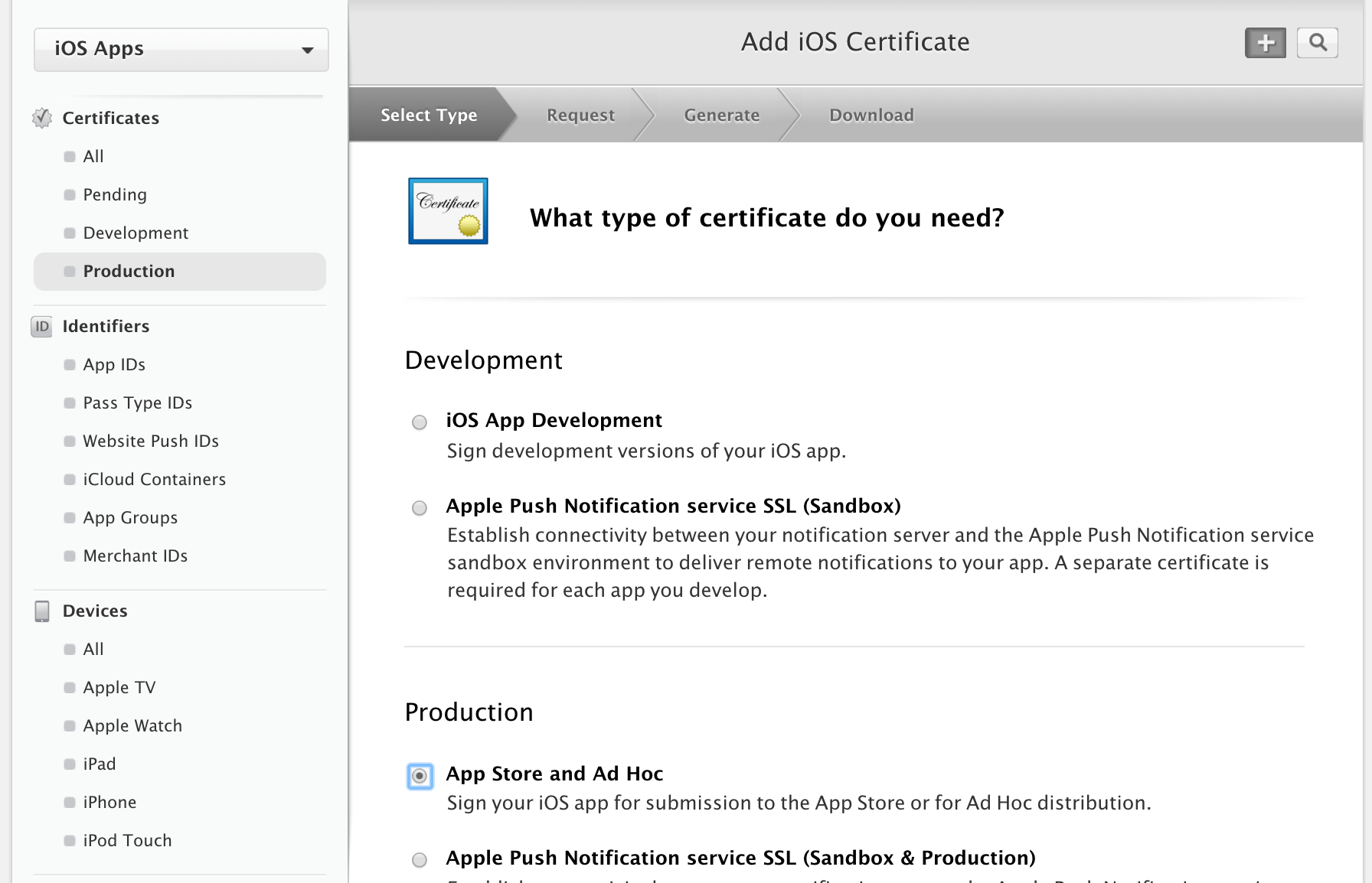 How to request your app store certificates tutorial so login to your ios developer portal and go to the production certificate section click the plus icon in the upper right to create a new certificate 1betcityfo Image collections